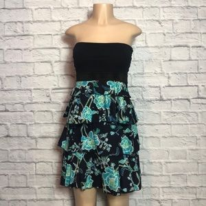 Express Strapless Navy Floral Tiered Sundress Sz S
